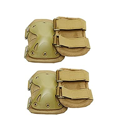 Combat Tactical Military Army Hard X Knee Pads Elbow Pads Tactical Protection Sports Safety Pads (Khaki): Health & Personal Care