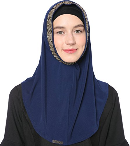 Ababalaya Women's Muslim Glitter Sequins Solid Jersey Headscarf Instant Hijab Ready to Wear Hijab,Navy Blue by Ababalaya (Image #5)