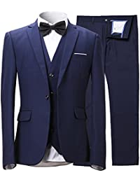 "<span class=""a-offscreen"">[Sponsored]</span>Men's Slim Fit One Button 3-Piece Suit Blazer Dress Suit Jacket Tux Vest & Trousers"