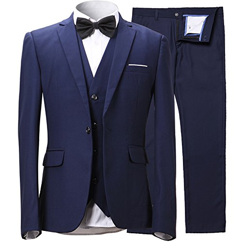 Cheap Suit (Mens Slim Fit 3-Piece Suit Blazer One Button Suit Jacket Tux Vest & Trousers,Black Suit, US Regular 38/Waist 32, Navy Blue)