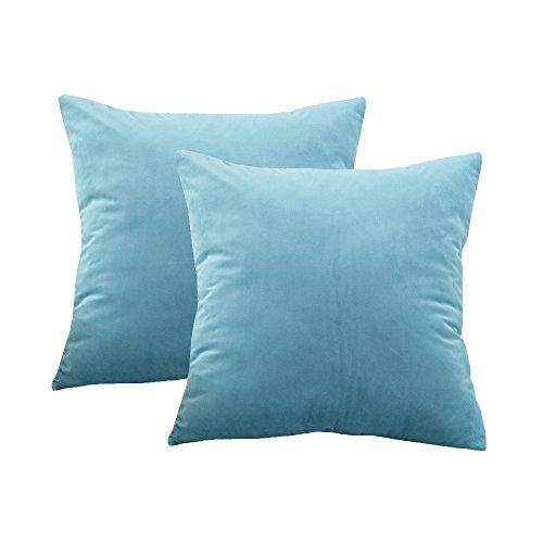 BLUETTEK Solid Velvet Throw Pillow Covers, Super Soft Luxury Home Decorative Twin Sides Pillow Cases (22 Inch x 22 Inch, Aqua Blue-1 Pair)