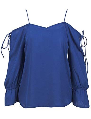 Longues Large Blouse Loisir Haut Sling Bretelles Couleur Mousseline Tops Femme Sangle Elgante Classique Shirt Printemps Unie Bleu Fashion sans Manches Fille Automne qBqwzp0Zx