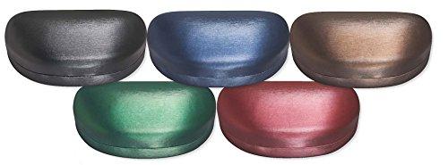 Large Sunglasses Case For Men & Women, Hard Shell Eyeglass Case In Striated Red Satin