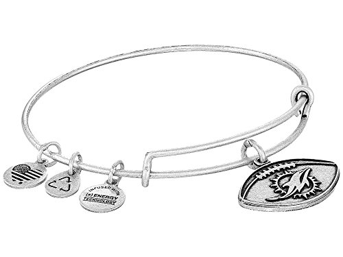Alex and Ani Women's NFL Miami Dolphins Football Bangle Rafaelian Silver One Size
