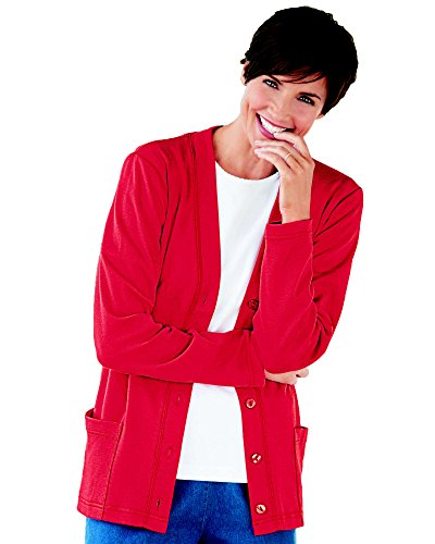 UltraSofts Button-Front Knit Cardigan, Red, Large