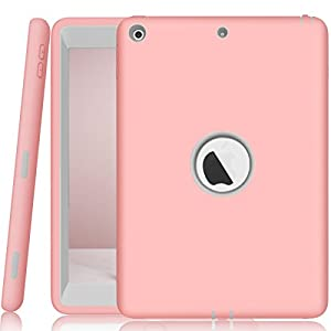 New iPad 9.7 2017 Case, AOKER Three Layer [New] Heavy Duty Shockproof High Impact Resistant Armor Defender Full Body Protective Case for Apple New iPad 9.7 inch (2017 Version) (Pink Grey)