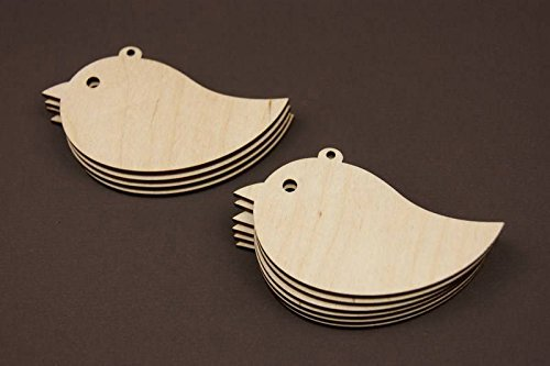 10x Vogel blank Form Holz Vogel Basteln Malen Dekoration Wohnen Holzaufh/ängen