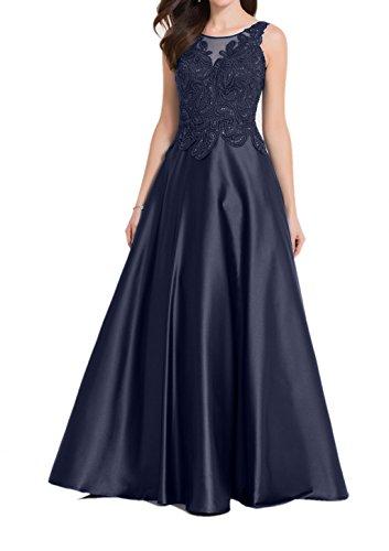 Navy Brautmutterkleider A Dunkel Lang Rock Charmant Abendkleider Glamour Pailletten Blau Damen Linie Blau Spitze 1z07q