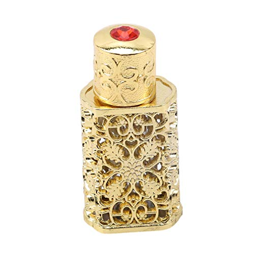 Yunzee Vintage Perfume Bottle Arabic Style Refillable Decorative Perfume Bottle Flower Carving Pattern Handmade Home Decor ()