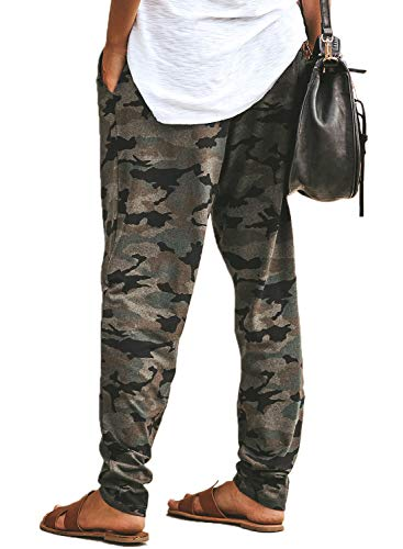 5a14aacb0e2d3 LOSRLY Women Drawstring Waist Camo Jogger Pants Activewear Long Pants with  Pockets