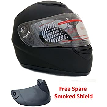 Motorcycle Full Face Helmet DOT +2 Visors Comes with Clear Shield and Free Smoked Shield - Matte Black (Large) – 22