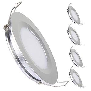41YqDEhS9PL. SS300 Acegoo 12V LED Einbaustrahler Flach Spot Einbauleuchte 3W 3200K 4 Stück Silber dimmbare Downlights Vollaluminium für…