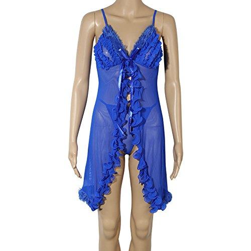 Spring Gift couples summer open heart plush robes transparent temptation bra slips girl that blue-YU&XIN