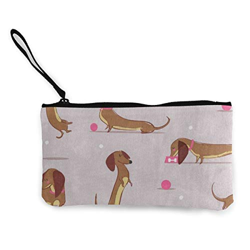 Canvas Coin Purse Cute Cartoon Dachshund Polka Dot Bone Customs Zipper Pouch Wallet For Cash Bank Car Passport
