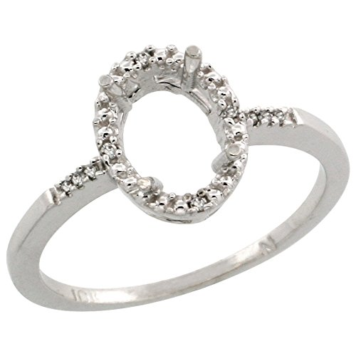 10k White Gold Semi-Mount Ring ( 8x6 mm ) Oval Stone & 0.06 ct Diamond Accent, size 10