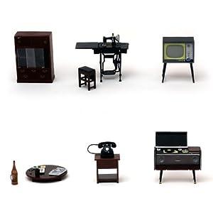 昭和の茶の間 6点セット レトロなミニチュア 懐かしい日本の家具 模型