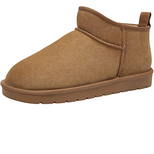 CAMEL CROWN Men's Fur Snow Boots Suede Leather Casual Winter Slip on Boots Unisex House Slippers Women's Bootie Camel ()