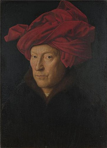 'Jan Van Eyck-Portrait Of A Man,1433' Oil Painting, 20x28 Inch / 51x70 (Romantic Creation Semi Mount)