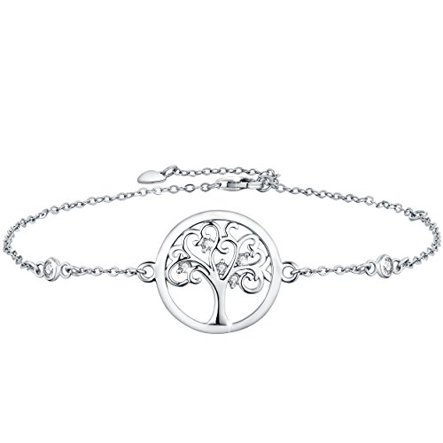 (Boniris 925 Sterling Silver Tree of Life Bracelet Womens Handmade Wristband with Cubic Zirconia for Mother's Day, Birthday and Graduation Season)