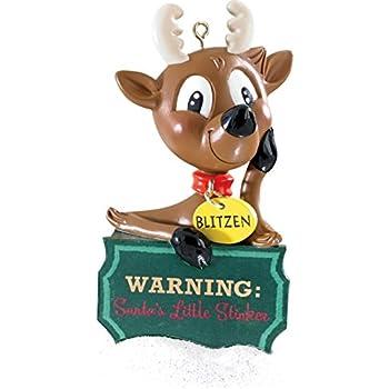 """3.75"""" Carlton Cards Heirloom Santa's Little Stinker Farting Blitzen Christmas Ornament"""