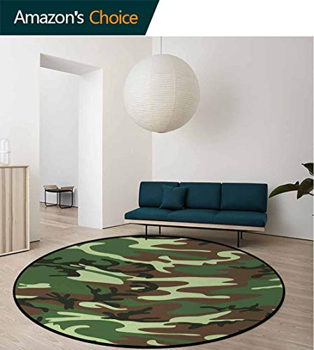 (Camo Non-Slip Area Rug Pad Round,Classical American Commando Uniform Inspired Pattern Forest Tile Protect Floors While Securing Rug Making Vacuuming Diameter-24 Inch,Forest Green Light Green Brown)