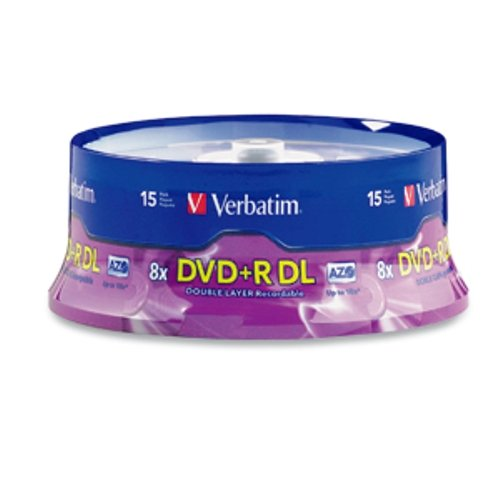 Verbatim DVD+R DL AZO 8.5GB 8x-10x Branded Double Layer Recordable Disc, 15-Disc Spindle 95484
