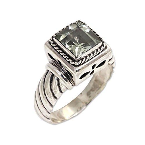 NOVICA Prasiolite .925 Sterling Silver Men's Ring, - Green Novica Ring