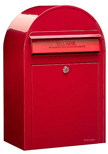 Bobi USPS Wall Mount Mailbox, European Outdoor Curbside Modern Mailbox with Lock and Key   Heavy Duty Stainless Steel Letter Drop Box (Red)