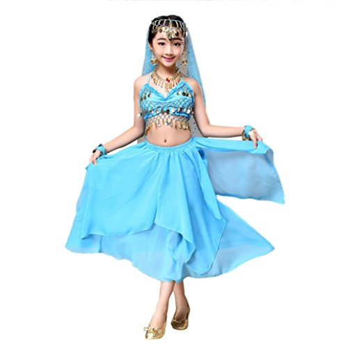 Malloom Kid Girls Belly Dance Halter Crop Top + Dress Set Egypt Dance Costumes (S, (Dresses Of Egypt)