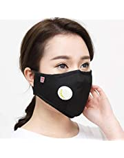 Lattice Face Breathing Mask with Valves and Carbon Filters, Washable and Reusable Comfy Cotton Respirator Face Mouth Mask