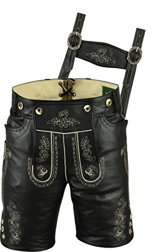 Sehr hochwertige Anline Trachten Lederhose für Männer, Kurze Lederhose Herren Damen, Trachten Lederhose Herren kurz, Damen Trachtenlederhose Echtleder Anline Schwarzr (52, Schwarz)