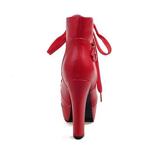 Solid tonda con rossa Agoolar punta Stivali a fibbia Tacco Women stringati Rx4w6