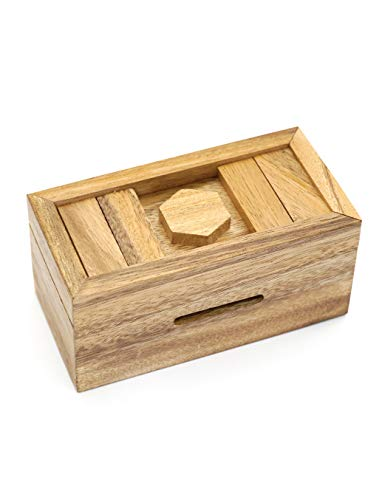 Puzzle Gift Case Boxes with Hidden Compartments in Unique Wooden Box to Challenge Mind Puzzles and Use as Intelligence Gift Box for Money in Secret (CANOPIC Chest)