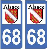 68 Haut-rhin Alsace Departement Immatriculation 2 X Autocollants Sticker Auto Auto, Moto – Pièces, Accessoires