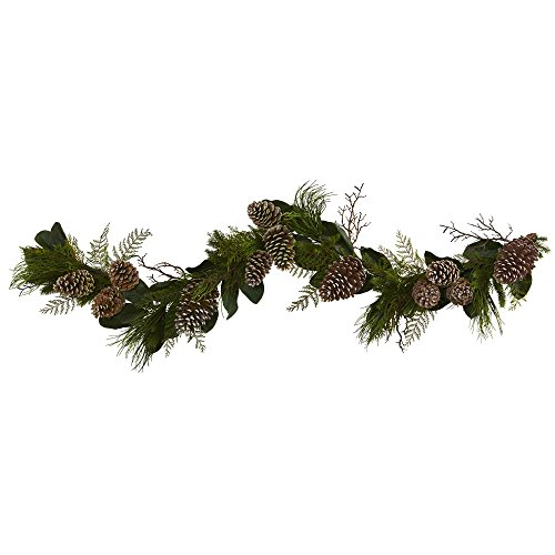 Nearly Natural 6 Cone and Pine Artificial Garland, Green