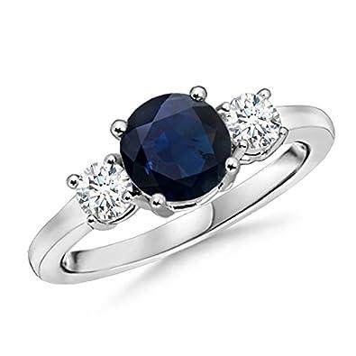 Angara Trio Stone Blue Sapphire Engagement Ring With Diamonds in Platinum kTHw3d0lq
