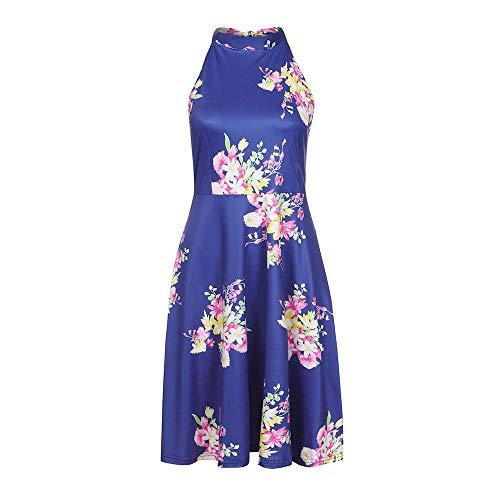 Women's Halter Neck Floral Summer Dress Casual Sundress with Pockets Sleeveless Sexy Tank Dress Chaofanjiancai Blue