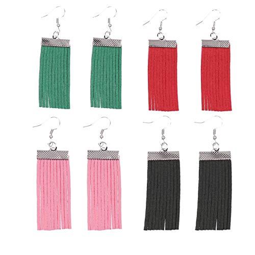(KSQS Leather Teardrop Earrings Set Petal Leaf Drop Earrings Soft and Lightweight Dangle for Women&Girls)