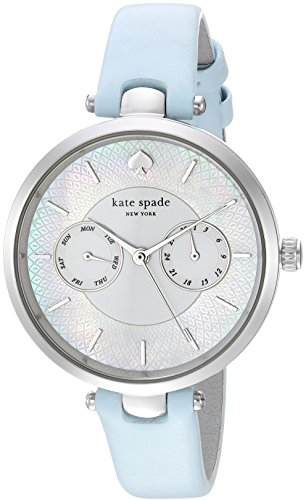kate spade new york Women's 'Holland' Quartz Stainless Steel and Leather Casual Watch, Color:Blue (Model: KSW1401)