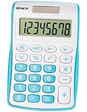 Genie 12492 kompaktowy kalkulator kieszonkowy z 8-cyfrowym wyświetlaczem - niebieski, pojedyncza jednostka