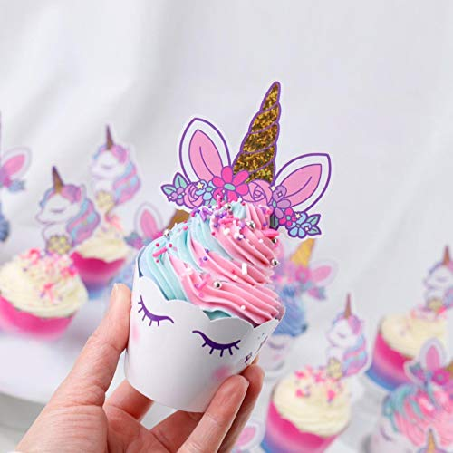 xo, Fetti Unicorn Cupcake Toppers + Wrappers | Unicorn Party Supplies + Unicorn Birthday Cupcake Decorations - Set of 24 by xo, Fetti (Image #4)