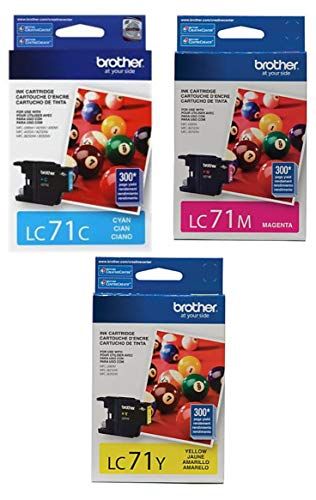 Brother LC71-3PKS Combo Pack Ink Standard Yield (3x 300 Yield)(C/M/Y) (Brother Printer Cartridges Lc71)