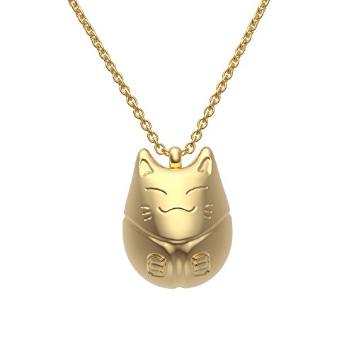 Ello Elli Stainless Steel Lucky Cat Necklace Gold-Tone 18