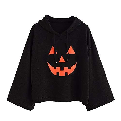 Clearance Women Tops LuluZanm Long Sleeve Hood Hoodies T-shirt Women Loose Plus Print Halloween Tops Blouse