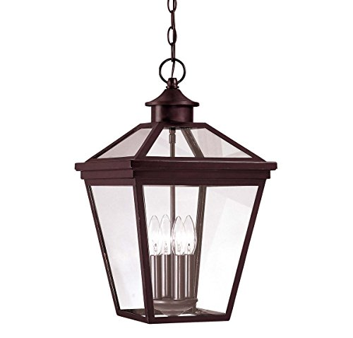 Savoy House 5-145-13 Outdoor Pendant with Clear Shades, English Bronze - Entrance Bronze English
