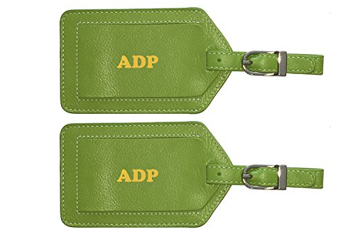 Personalized Monogrammed Bright Green Leather Luggage Tags - 2 Pack