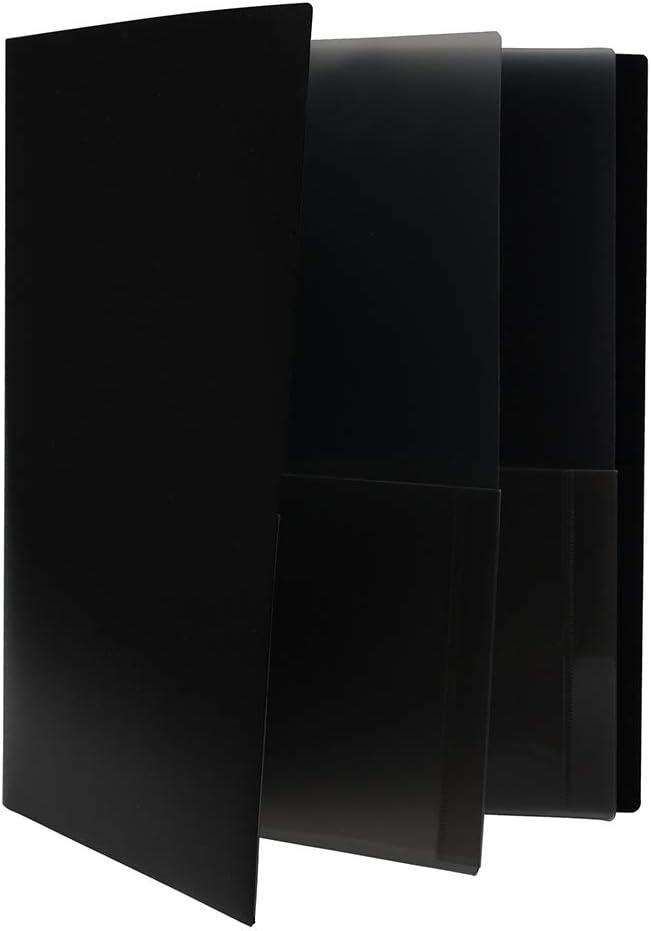 JAM PAPER Heavy Duty Plastic Multi Pocket Folders - 6 Pocket Organizer - Black - 2/Pack