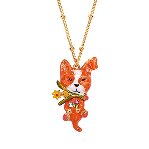 MXMYFF Ladies Pendant Necklace Copper Plated 18K Gold Hand Painted Enamel Animal Pendant Necklace Fashion Personality Clavicle Chain,Red