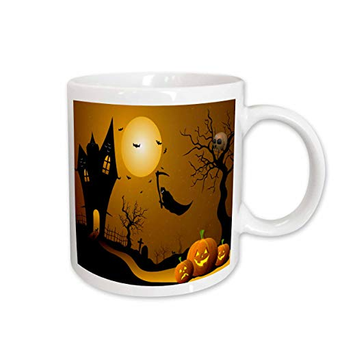 3dRose Halloween House with Pumpkins Skulls and Bats and The Grim Reaper Ceramic Mug, 11-Ounce ()