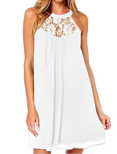 Aolakeke Women's Sleeveless halter Lace Patchwork Loose Casual Mini Chiffon Dress